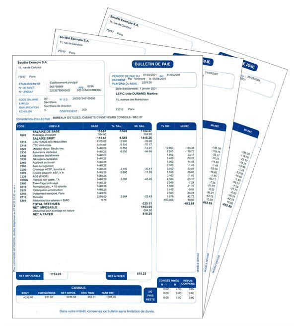 Paye: Bulletin de paye : fichier excel